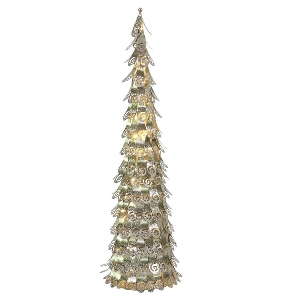 3' Pre-Lit Champagne Christmas Cone Tree Outdoor Decoration - Warm Clear LED Lights