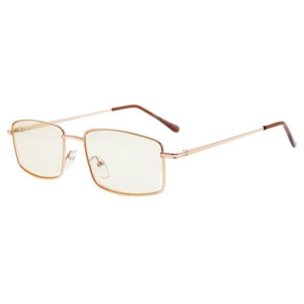 Eyekepper Spring Hinges Anti-Blue Ray/Anti-Strain Computer Eyeglasses (Gold/Amber Tinted Lens, +225)