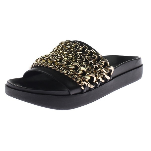 Kendall & Kylie Womens Shiloh 2 Slide Sandals Leather Chain Detail