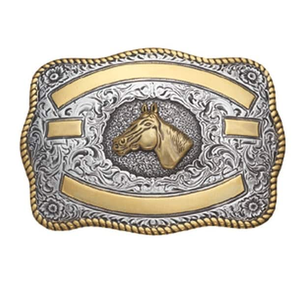 Crumrine Western Belt Buckle Rectangle Horsehead Gold Silver - 3 1/4 x 4 1/4