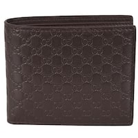 "Gucci Men's 260987 Brown Leather MICRO GG Guccissima Bifold Wallet - 4.5"" x 3.5"""