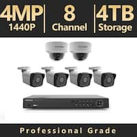 LaView 8-Channel 4MP Full HD 4TB IP NVR System (4) 2688x1520P Bullet, (2) Dome Cameras, 100 ft. Night Vision, Remote Viewing