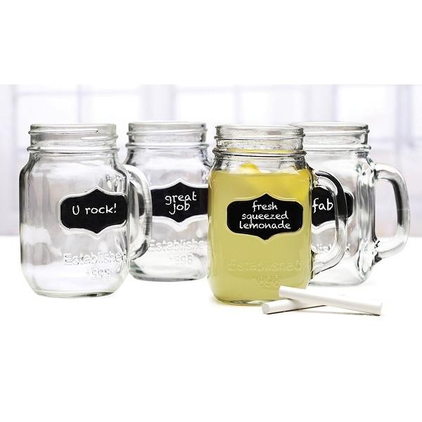 Palais Glassware Mason Jar Tumbler Mug with Handle - 17.5 Ounces - Set of 4 (Clear w/Chalkboard & Ch