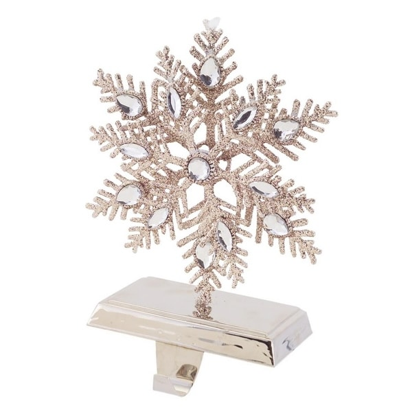 "8.75"" Luxury Lodge Elegant Silver Glitter Encrusted Snowflake Christmas Stocking Holder"