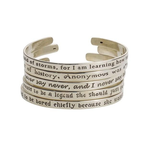 Women's Famous Women's Quotes Cuff Bracelet - Behaved - Laurel Thatcher Ulrich - Silver