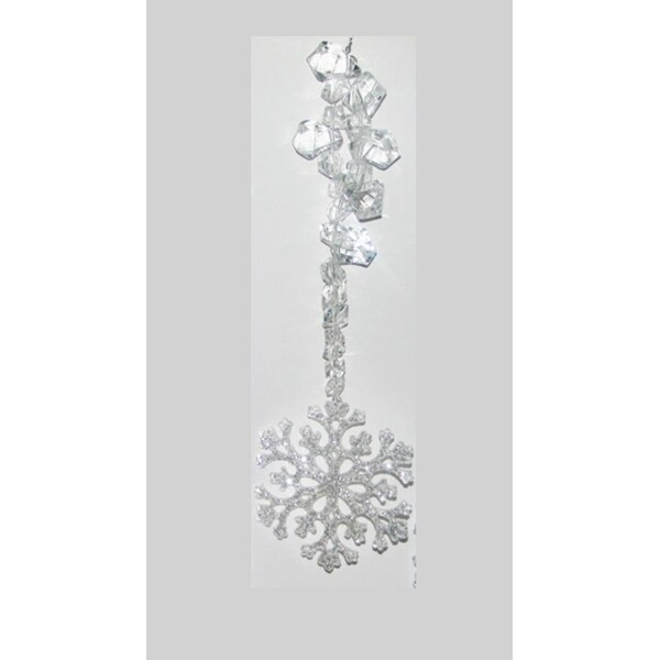 """9"""" Clear Ice Crystal Glittered Snowflake Drop Christmas Ornament"""