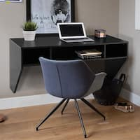 Costway Wall Mounted Floating Computer Table Sturdy Desk Home Office Furni Storag Shelf