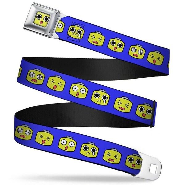 Servbot Face Close Up Full Color Yellow Megaman Servbot Expressions Blue Seatbelt Belt