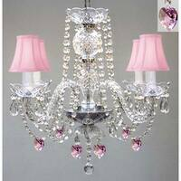 Crystal Chandelier with Pink Shades & Hearts-Perfect for Kid's Rooms