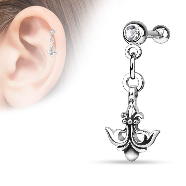 {Clear} Anchor with Fleur De Lis Dangle on Jeweled Ball Steel Cartilage/Tragus Bar (Sold Individually)
