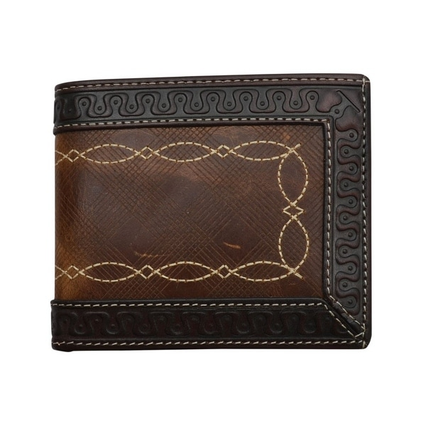 3D Western Wallet Mens Bifold Inlay Embossed Slots Chocolate - One size