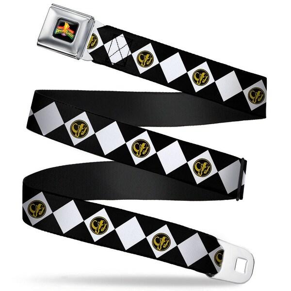 Power Rangers Logo Full Color Diamond Black Ranger Webbing Seatbelt Belt Seatbelt Belt