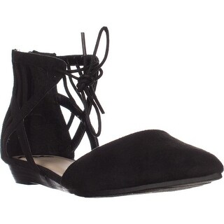 Fergalicious Coco Pointed Toe Lace-up Flats, Black