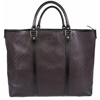 "Gucci 309413 Unisex Brown Leather Diamante XL Tote Travel Purse Bag - 16"" x 15.7"" x 5.5"""