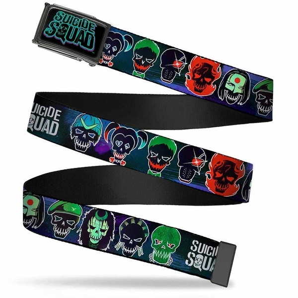 Suicide Squad Logo Fcg Black Purple Teal Black Frame Suicide Squad 10 Web Belt