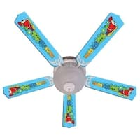 Blue Red Engine Train Print Blades 52in Ceiling Fan Light Kit - Multi