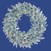 6' Pre-Lit Silver Ashley Spruce Tinsel Christmas Wreath - Clear Lights