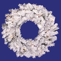 "36"" Pre-Lit Flocked Alaskan Pine Artificial Christmas Wreath - Clear Dura Lights"