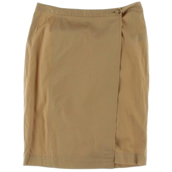 Lauren Ralph Lauren Womens Wrap Skirt Solid Twill