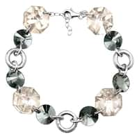 Crystaluxe Link Bracelet with Smokey Swarovski Crystals in Sterling Silver - White