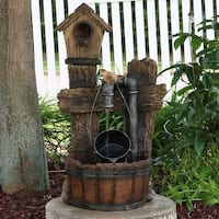 Sunnydaze Bird House Leaking Pipe Outdoor Water Fountain with Light - 29 Inch