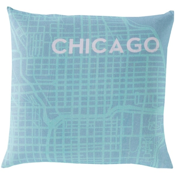 "22"" Aqua Blue and Light Gray Show Stopping ""CHICAGO"" Decorative Throw Pillow Shell"
