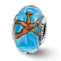 Italian Sterling Silver Reflections Teal Starfish Glass Bead (4mm Diameter Hole)