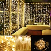 Image 16.4ft*2ft LED Curtain Icicle Lights String Connectable Christmas Warm White