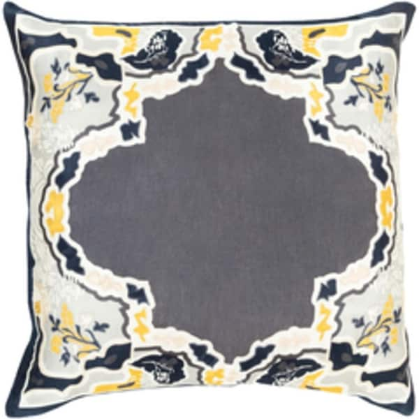 "20"" Metalic Gray and Golden Yellow Floral Decorative Throw Pillow - Down Filler"