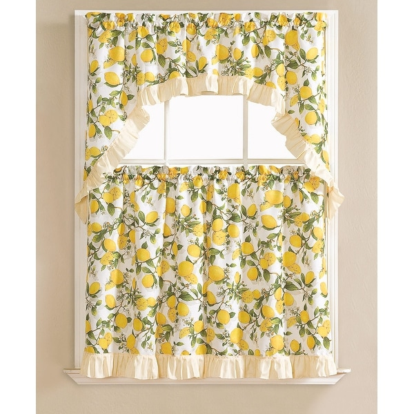 Beth Lemon Printed 3-Piece Kitchen Curtain Swag & Tiers Set, Beige, 60x36 & 30x36 - N/A