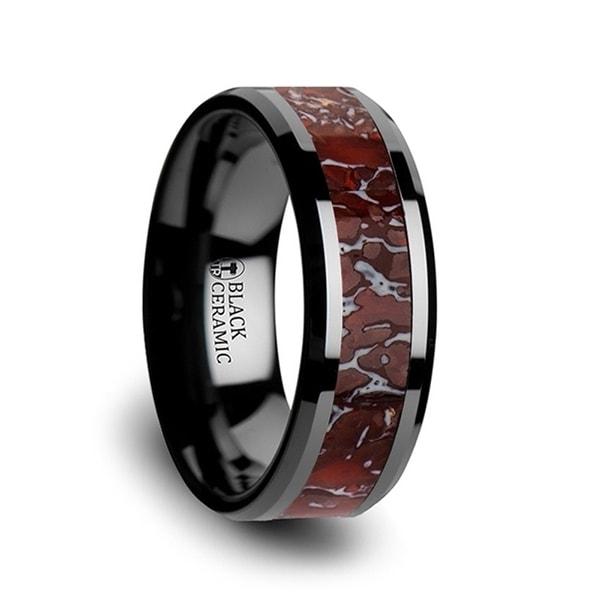 TRIASSIC Red Dinosaur Bone Inlaid Black Ceramic Beveled Edged Ring 8mm