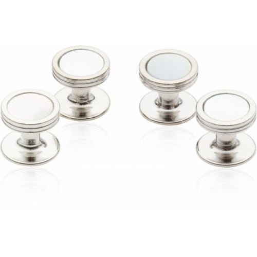 Mother Of Pearl Studs In Silver Tone