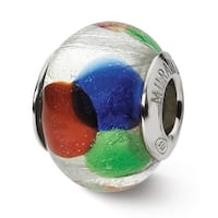 Italian Sterling Silver Reflections White/Blue/Green/Red Bead (4mm Diameter Hole)