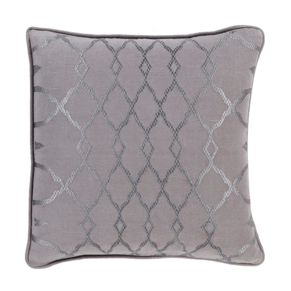 "20"" Diamond Elegance Charcoal and Dove Gray Decorative Throw Pillow - Down Filled"