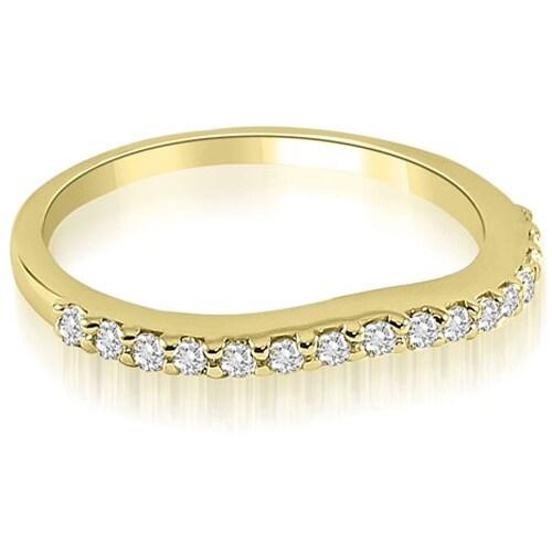 0.25 cttw. 14K Yellow Gold Curved Round Cut Diamond Wedding Band