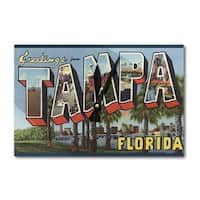 Tampa, FL - Large Letter Scenes - Vintage Halftone (Acrylic Wall Clock) - acrylic wall clock