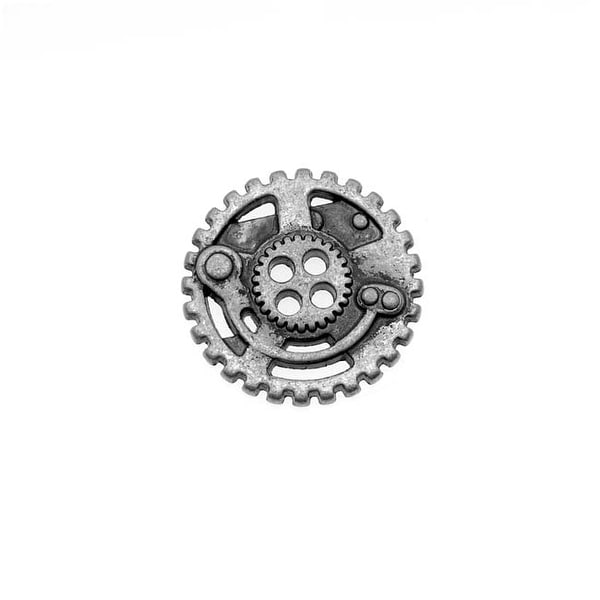 Antiqued Silver Plated Steampunk Gears 4 Hole Button 22.5mm (1)