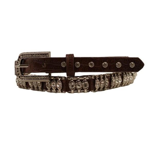 Nocona Western Belt Womens Croc Print Metal Bars Crystals
