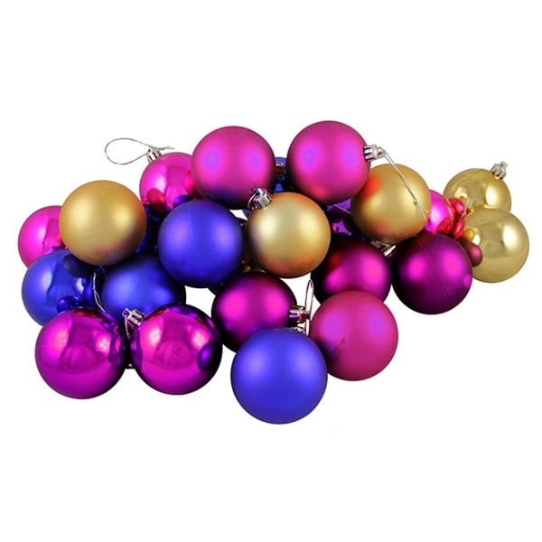 "24ct Matte and Shiny Vibrant Multi Shatterproof Christmas Ball Ornaments 2.5"" (60mm)"