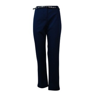 Style & Co. Women's Belted Straight Leg Cropped Ankle Pants - Ink