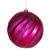 "Cerise Pink Glitter Swirl Shatterproof Christmas Ball Ornament 6"" (150mm)"