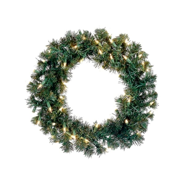 """12"""" Pre-Lit Deluxe Windsor Pine Artificial Christmas Wreath - Clear Lights"""