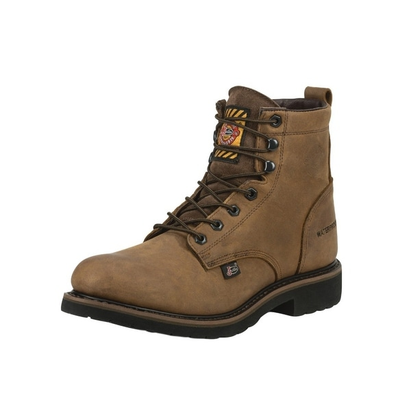 Justin Work Boots Mens Lace Waterproof Drywall Round Toe Wyoming
