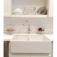 """Double Bowl Farm, Farmhouse Apron Front Fireclay Kitchen Sink, 33"""", White, Reversible Smooth / Fluted"""