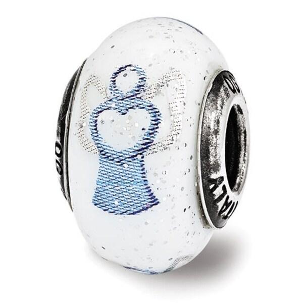 Italian Sterling Silver Reflections Blue Angel Murrano Glass Bead (4mm Diameter Hole)
