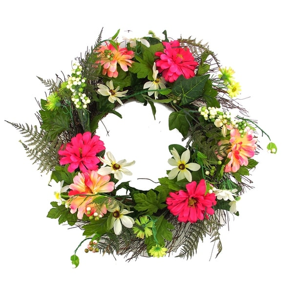 "22"" Decorative Pink Silk Zinnia Daisy Flower Artificial Spring Floral Wreath"