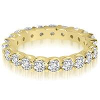 14K Yellow Gold 1.40 ct.tw Round Cut Shared Prong Diamond Eternity Wedding Ring HI, SI1-2