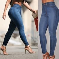 Women Lady High Waist Slim Jeans Skinny pants Slim Denim Trousers Jeans Blue