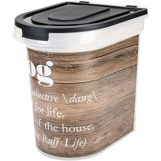 "Wood Grain - Plastic Rolling Pet Food Bin 15.5""X13.25""X16.75"""