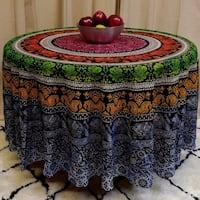 "Handmade 100% Cotton Elephant Mandala Floral 81"" Round Tablecloth"